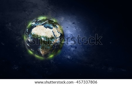 Planet Earth Global Technology Network Connections Effect - Africa & Mediterranean (Elements of this image furnished by NASA)