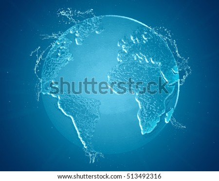 Planet Earth Global Water Symbol