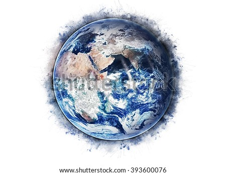 Planet Earth Grunge Artwork - Mediterranean Continent (Elements of this image furnished by NASA)