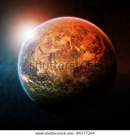 Planet Earth half burning - stock photo