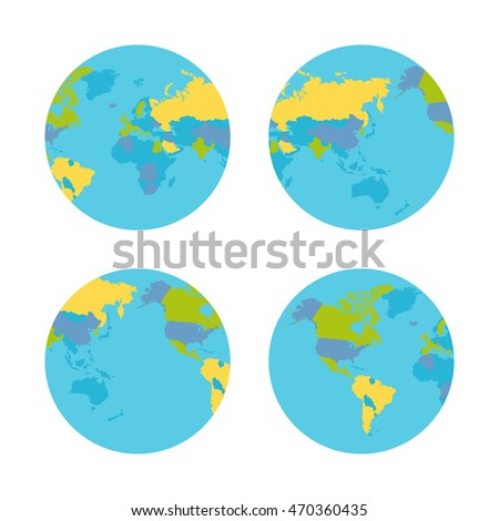 Planet earth illustration four sides world ilustracin en stock planet earth illustration from four sides world globe circular sequence with political map countries gumiabroncs Gallery