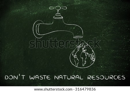 planet earth in a droplet from the tap (with ocean fill), illustration about not wasting natural resources - stock photo