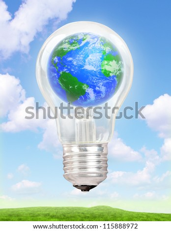 Planet Earth in a light bulb - stock photo