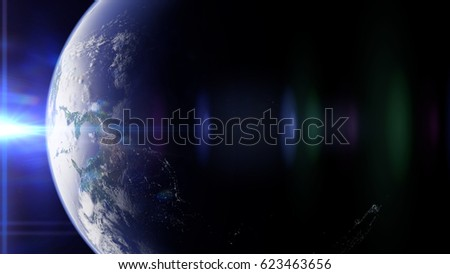 planet Earth in front of the bright sun (3d illustration, elements of this image are furnished by NASA)