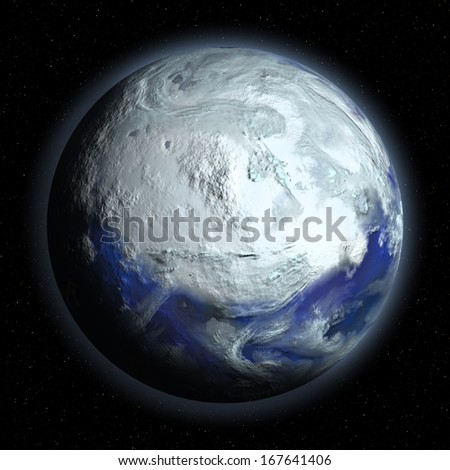 Planet Earth in Glacial Period on universe background - stock photo