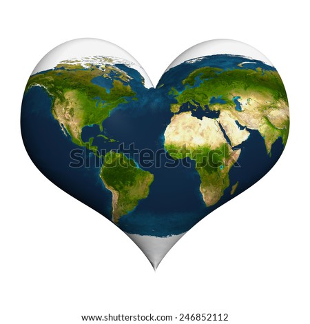 Planet earth in heart shape. Elements of this image furnished by NASA. - stock photo