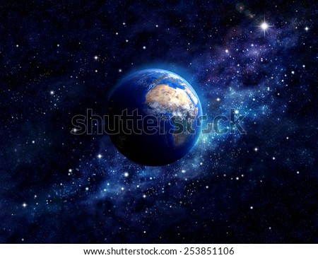 Planet Earth in outer space. Imaginary view of planet earth in a star field. Elements of this image furnished by NASA