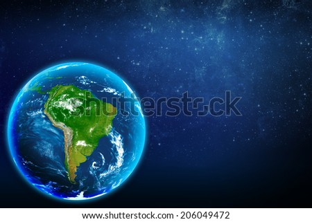 Planet earth in space. Continent South America