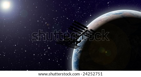 planet earth in space with sun in background and ISS Space Station - stock photo
