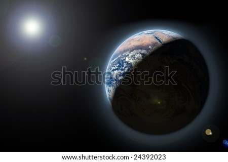 planet earth in space with sun rize - stock photo