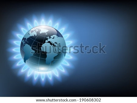 planet earth in the blue flame of a gas burner - stock photo