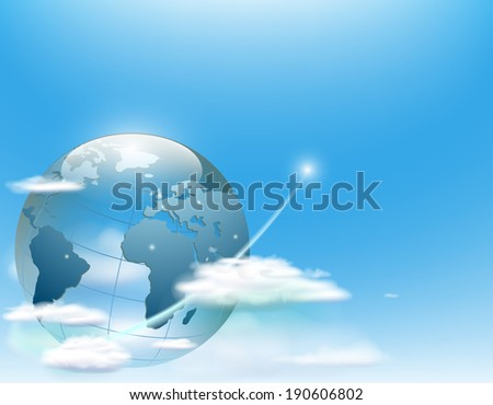 planet earth in the clouds against the sky - stock photo