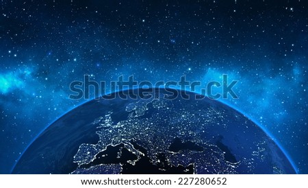 Planet Earth in universe or space, Earth and galaxy in a nebula cloud (Elements of this 3d rendered image furnished by NASA) - stock photo