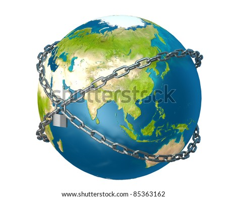 Planet Earth is closed to lock - stock photo