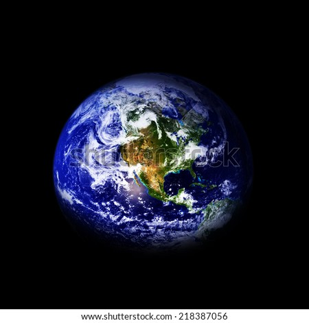 Planet earth isolated on a black background.Elements of this image are furnished by NASA - stock photo