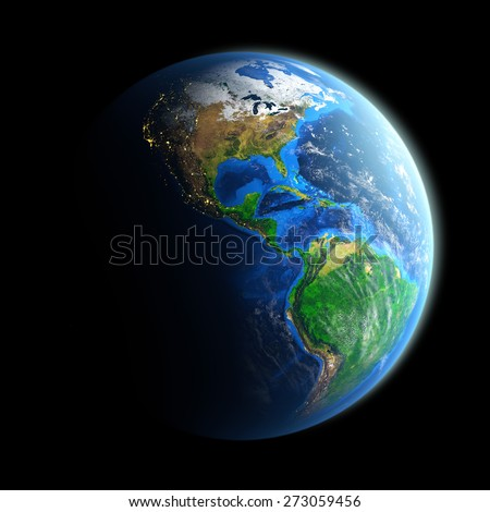 Planet Earth isolated on black. Detailed picture of the Earth, view of American continent. Elements of this image furnished by NASA - stock photo