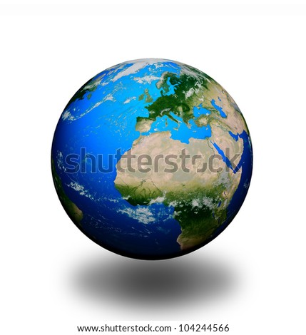 "Planet Earth isolated on white background . ""Elements of this image furnished by NASA"""