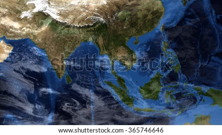 Planet Earth Map - Clouds & Weather Composition - Asia (Elements of this image furnished by NASA) - stock photo