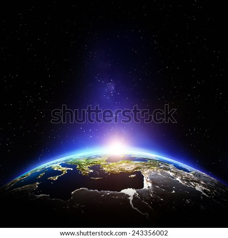 Planet Earth night. Elements of this image furnished by NASA - stock photo