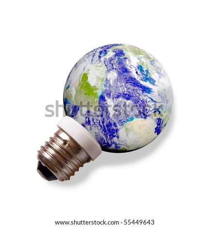 planet Earth on a pedestal like energy save lamp isolated on white background. Eco Energy concept