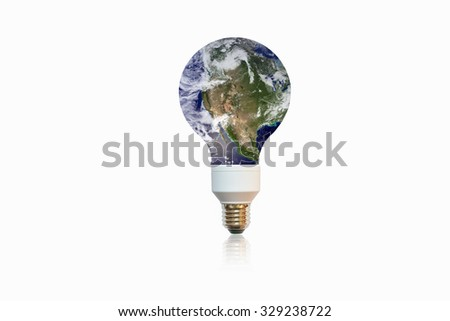 planet Earth on  lamp isolated on white background.Save earth concept