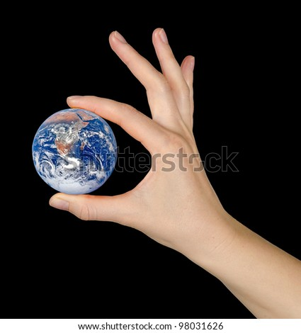 Planet earth on palms.Elements of this image furnished by NASA - stock photo