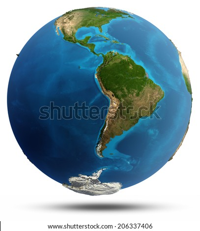 Planet Earth real relief and water. Elements of this image furnished by NASA - stock photo