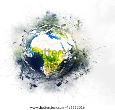 Planet Earth's Global Artwork - Grunge Painting Style - Africa & Mediterranean (Elements of this image furnished by NASA)