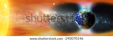 planet Earth's magnetic field against Sun's solar wind (Elements of this image furnished by NASA) - stock photo