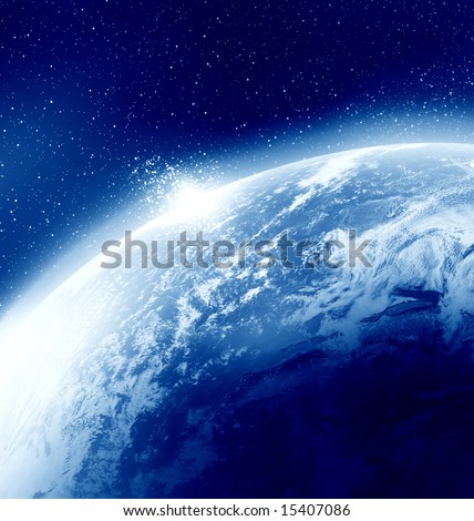 planet earth seen from outer space, with some stars - stock photo