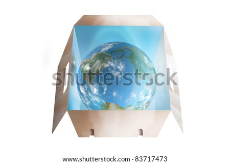 Planet earth shining bright in a dropbox