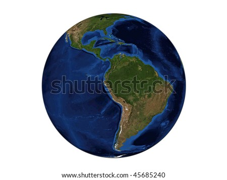 Planet Earth - South America, data source: NASA - stock photo