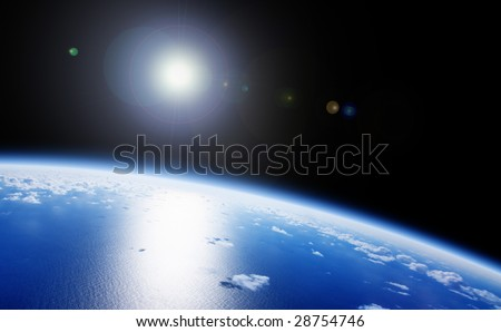 Planet Earth Space Global View and Sun in the Background - stock photo