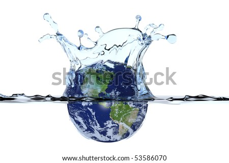 Planet Earth splashing in water surface causing a water crown and ripples. Isolated with clipping path. Globe shows North- and South America. Maps courtesy of visibleearth.nasa.gov. - stock photo