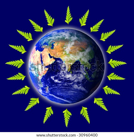 Planet earth surrounded by green leafs symbolizing environmental concerns and ecology
