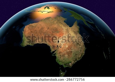 Planet Earth; the Earth from space showing Australia on globe in the day time; elements of this image furnished by NASA - stock photo