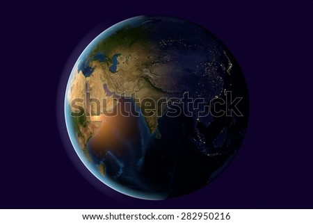 Planet Earth; the Earth from space showing India, Asia, India on globe in the evening; elements of this image furnished by NASA