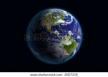 Planet Earth. Viewing America. Background is full with stars (in case you don't see on thumbnail) - stock photo