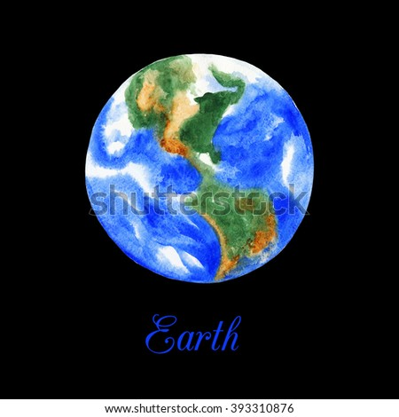 Planet Earth. Watercolor illustration on black background
