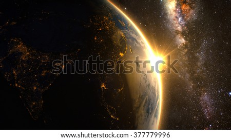Planet Earth with a spectacular sunrise, view on China and India. Elements of this image furnished by NASA - stock photo