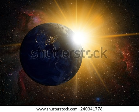 "Planet Earth with a spectacular sunset. .""Element s of this image furnished by NASA  - stock photo"