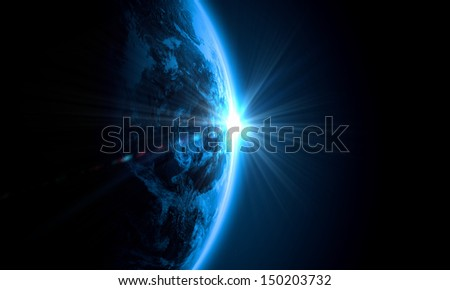 Planet Earth with appearing sunbeam light. Elements of this image are furnished by NASA - stock photo