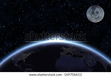 Planet earth with appearing sunlight and moon. Visible city lights.  Elements of this image furnished by NASA. - stock photo