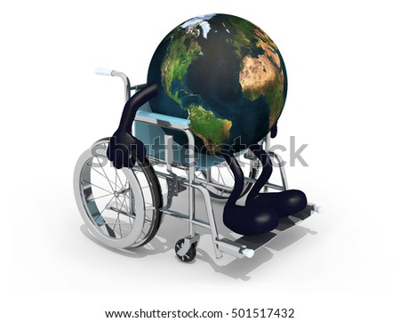 planet earth with arms and legs on a wheelchair isolated 3d illustration. Elements of this image furnished by NASA.