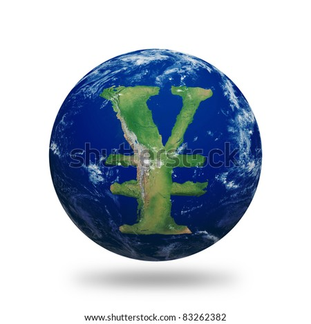 Planet Earth with Chinese Yuan or Japanese Yen sign shaped continents and clouds. Planet has clipping path.