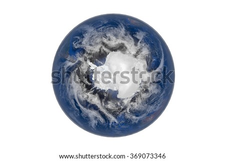 Planet Earth with Clouds and Atmosphere. Antarctica View. Digitally generated model of Planet Earth. Render based on  reference images of NASA. Elements of this image furnished by NASA - stock photo