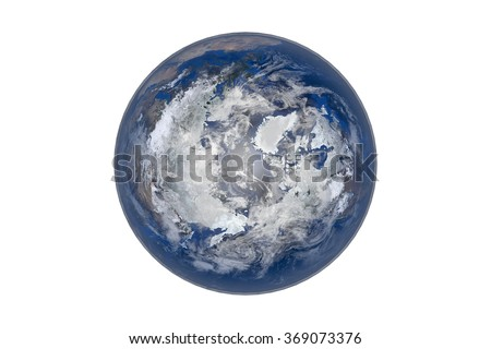 Planet Earth with Clouds and Atmosphere. Arctic View. Digitally generated model of Planet Earth. Render based on  reference images of NASA. Elements of this image furnished by NASA - stock photo