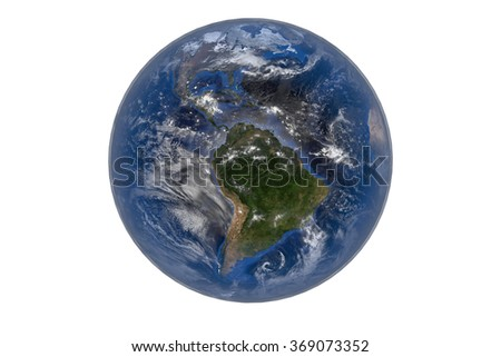 Planet Earth with Clouds and Atmosphere. The Americas - South America. Digitally generated model of Planet Earth. Render based on  reference images of NASA. Elements of this image furnished by NASA - stock photo