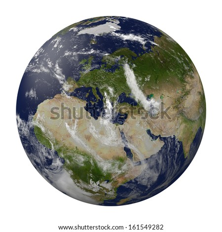 Planet earth with clouds. Europe, Africa and Asia. 3D render.  Elements of this image furnished by NASA. - stock photo