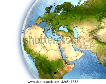 Planet Earth with embossed continents and country borders. EMEA region. Elements of this image furnished by NASA. - stock photo